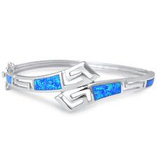 Greek Key Blue Opal  .925 Sterling Silver Bangle Bracelet