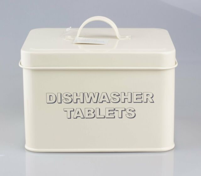 Storage Vintage Retro Style Dishwasher Tablets Tin Box In Cream Colour Home Kitc