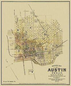 Old City Map - Austin Texas Landowner - 1885 - 23 x 27.81 | eBay