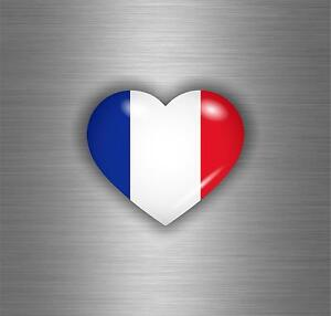 FRANCE HEART WITH FRANCE FLAG BUMPER STICKER