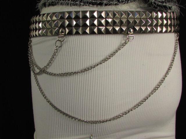 New Punk Black Faux Leather Fashion Belt Studs Long Silver Metal Chains S M L XL