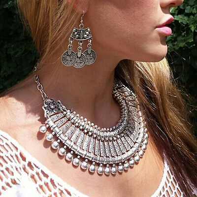 Bohemian Antalya Gypsy Festival Turkish Statement Bib Collar Necklace Chain