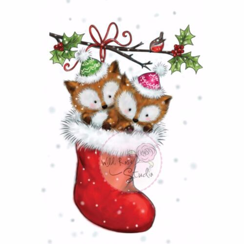 Christmas Fox Stocking Clear Unmounted Rubber Stamp WILD ROSE STUDIO CL499 New