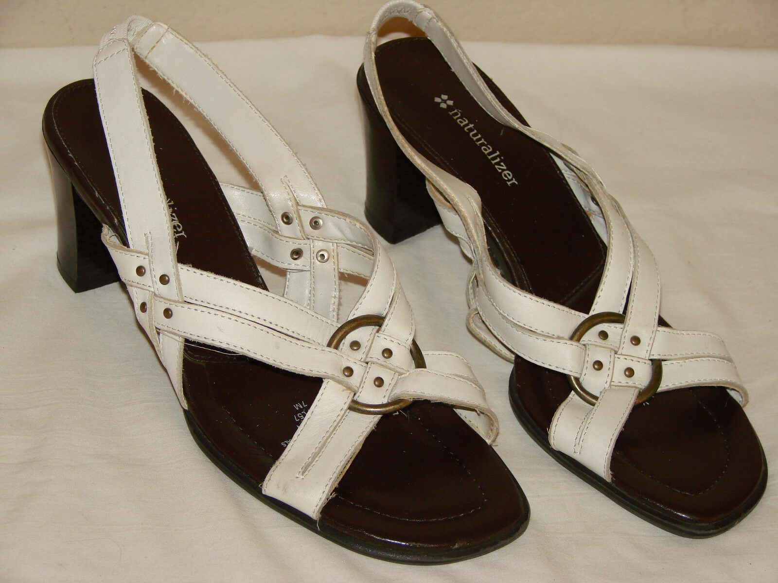 Naturalizer Suite N Womens White Leather Slingback Heel Sandal Shoe - Size 7M