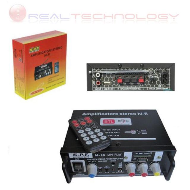 AMPLIFICATORE STEREO HIFI 2 O 4 CANALI MINI LETTORE USB SD MP3 AUX E TELECOMANDO