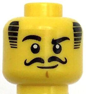Lego New Yellow Minifigure Head Black Straight Eyebrows  Dark Azure Eyes Male