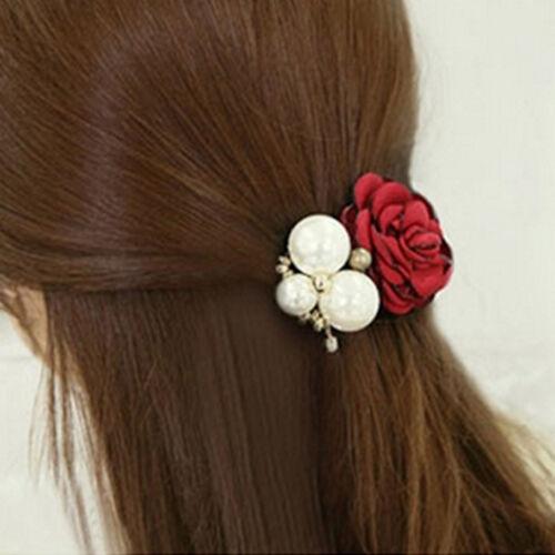 Femmes rose fleur perles Perles cheveux bande corde chouchou queue de che Hf