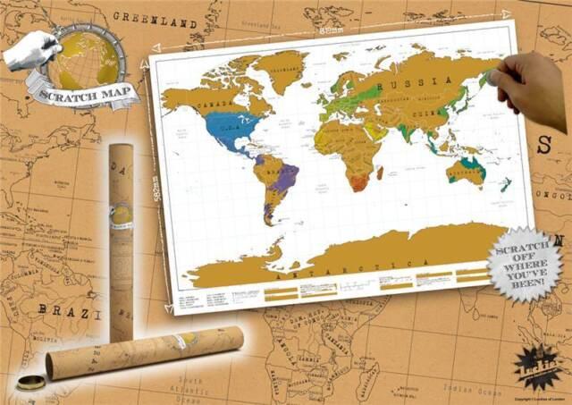 Luckies of london scratch original personalized world map ebay scratch off map personalized world map poster luckies personal travel log gift gumiabroncs Choice Image