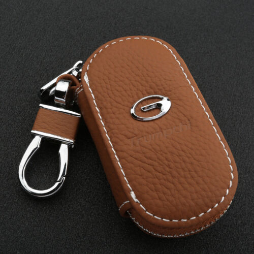 Genuine Leather All Car Logo Key Chain Coin Holder Zipper Case Remote Wallet Bag