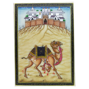 "Painting Camel Handmade India Miniature Artwork water color resin tile 3½""X2½"""