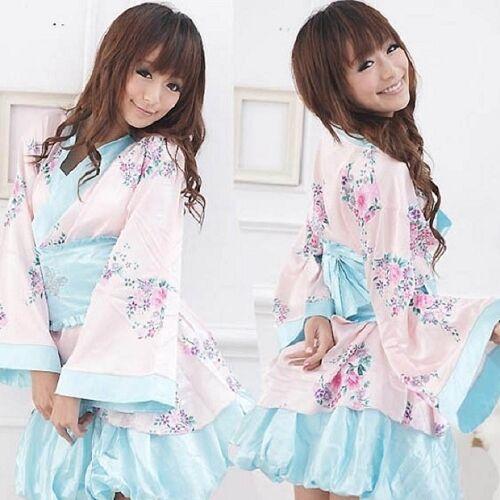 Women's Sexy lingerie Japanese Kimono Sleepwear Night Dress Cosplay + G string
