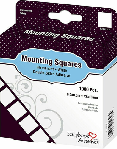 """Scrapbook Adhesives by 3L Mounting Squares Permanent White 1//2/"""" 1000//box New!"""