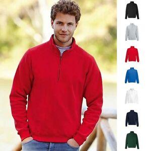 1a-Herren-Sweat-Sweatshirt-Fruit-of-the-loom-New-Zip-Neck-Sweat-Raglan-80-20