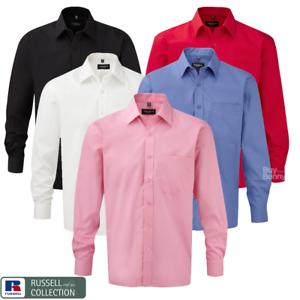 Russell-Collection-Camisa-manga-larga-para-hombre-100-Algodon-Cuello-Clasico-Calce-inteligente