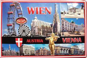 Viena-Austria-Vienna-Letrero-de-Metal-3D-en-Relieve-Arqueado-Cartel-Lata-20-X
