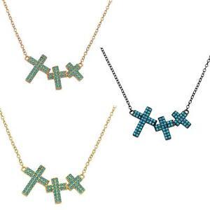 Sterling silver necklace w turquoise stones 3 crosses pendant ebay la foto se est cargando collar de plata esterlina con piedras turquesa 3 aloadofball Choice Image
