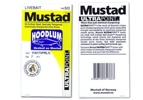 15 Mustad Hoodlum 10827NPBLN 7//0 Assist Jigging Live Bait hook