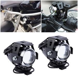 2X-U5-Feux-Avant-Lampe-Lumiere-125W-LED-Moto-antibrouillard-Commutateur-CWBR