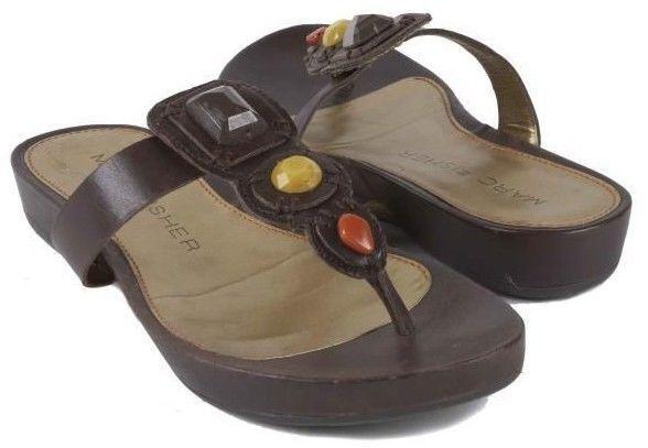 New MARC FISHER Women Leather Slip On Slide Sandal T-Strap Thong shoes Sz 8.5 M