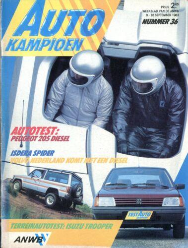 1983 AUTOKAMPIOEN MAGAZIN 36 TEST PEUGEOT 205 DIESEL ISDERA SPIDER NIEDERLÄNDISC