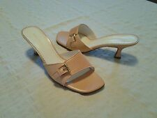 Naturalizer Shoes 8 Women's Pink Leather Slip-On Open Toe Heels Free Shipping
