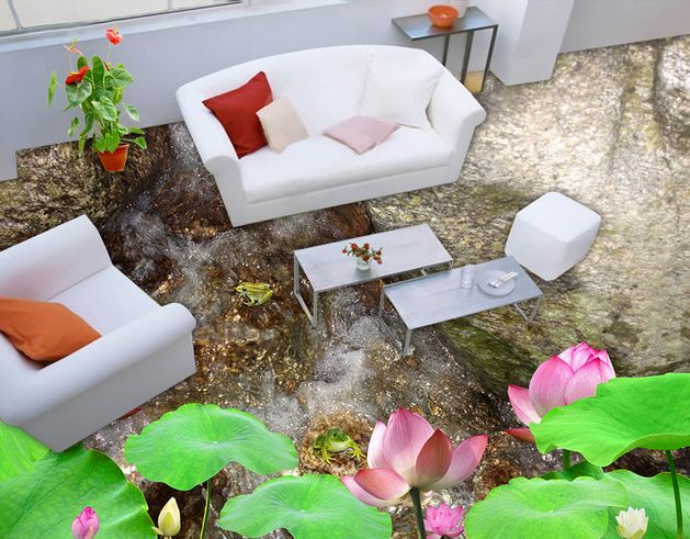 3D Stones Lotus Leaf Floor WallPaper Murals Wall Print Decal 5D AJ WALLPAPER