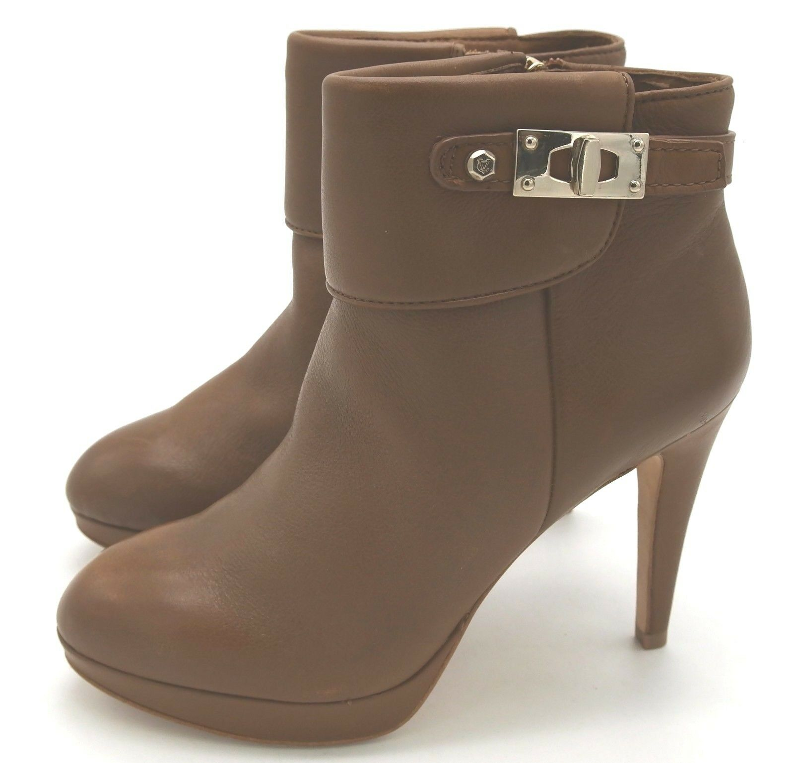 J6828 New Women's Vince Camuto Signature Evalina Camel Leather Ankle Bootie 6 M