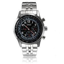JARAGAR Stainless Steel Band Black Case Mechanical Wrist Watch