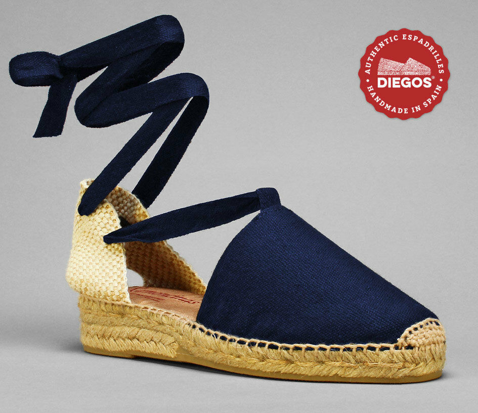 Diegos® Authentic Handmade Spanish Spanish Spanish Navy bluee Lola lace-up Espadrille, Low wedge 421376