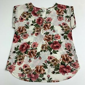 Tavia Top Blouse Women's M White Pink Floral 1/4 Zip Front Cuffed Short Sleeve