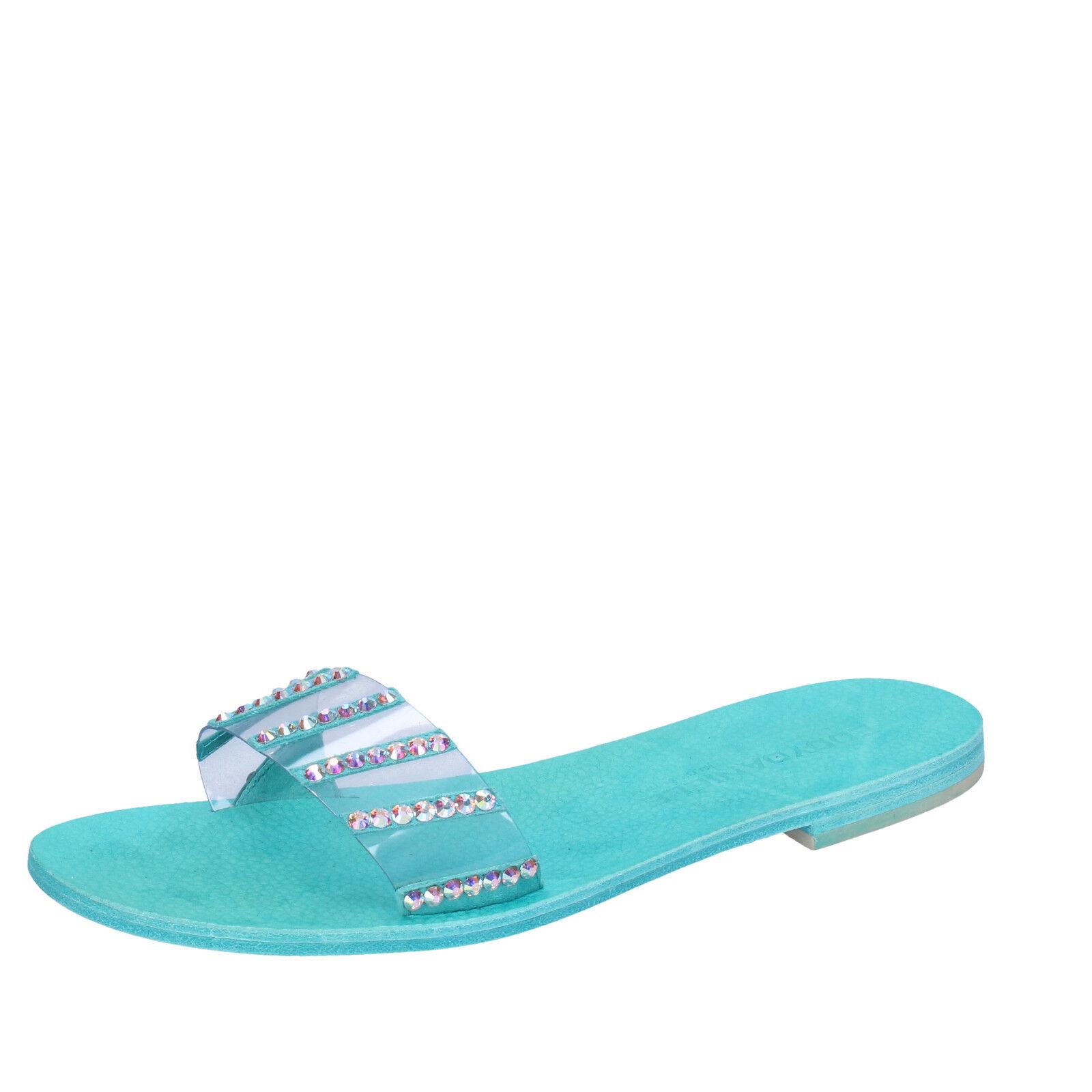 womens light shoes EDDY DANIELE 4 (EU 37) sandals light womens blue suede swarovski AW675 849add