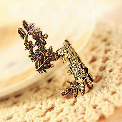 Copper Plated Vintage Charm Leaves Flower Gift Women Jewelry Ring Fashion