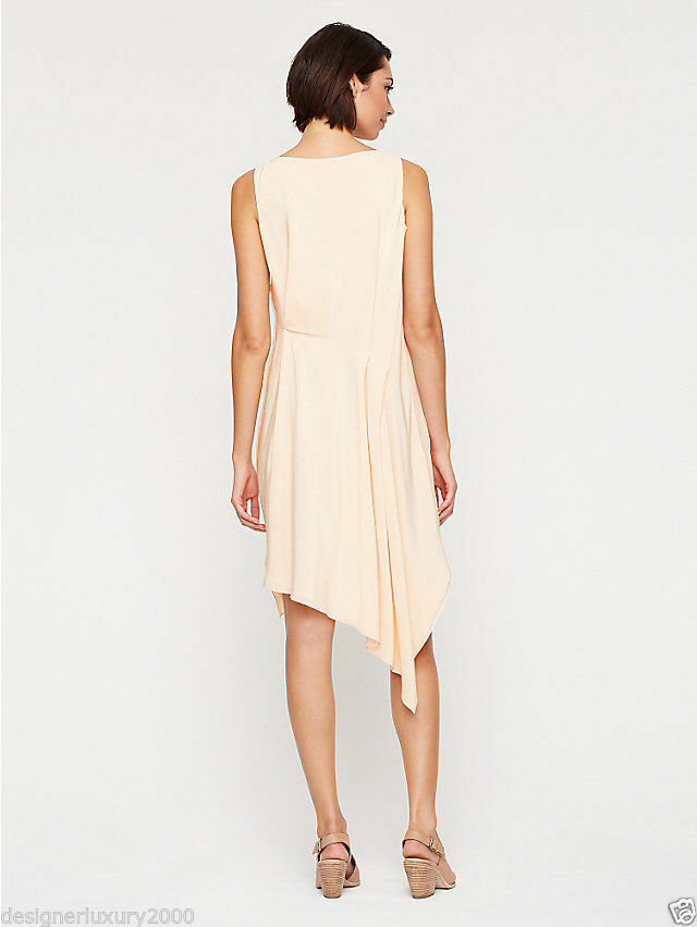 Eileen Fisher NWT  398 alabaster 100% silk crepe crepe crepe sleeveless dress size M L 4d14f6