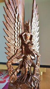 "Balinese Temple Statue Artisan Hand carved Wood -Garuda carrying Lord Vishnu 14"""