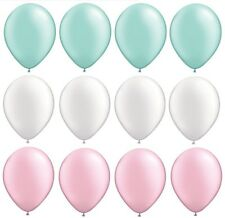 """12 Pearl Mint Green White Pink 12"""" Party Baby Shower Wedding Latex Balloons"""