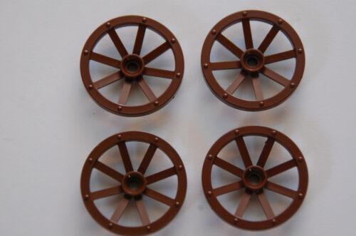Lego 4 x Kutschenrad  Rad Wagenrad 4489a 5x5 alt braun 6061 6099 6040