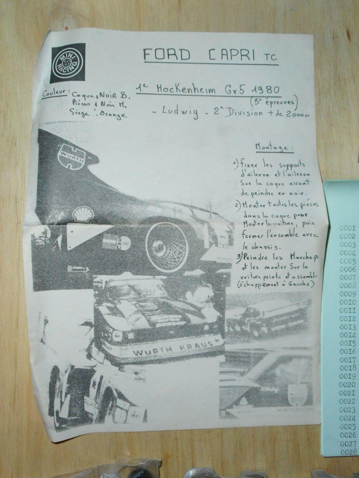 MINI RACING  FORD CAPRI CAPRI CAPRI TURBO 1980 WURTH AIL AR LARGE kit vintage métal ee65bd