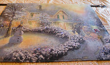 Thomas Kinkade Fiber Optic Tapestry Wall Hanging Victorian Christmas Scene