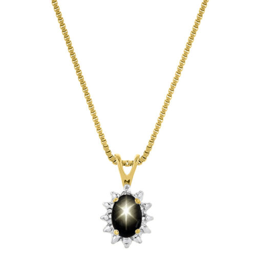 Details about  /Black Star Sapphire Pendant Necklace in Yellow Gold Plated Silver or Sterling S