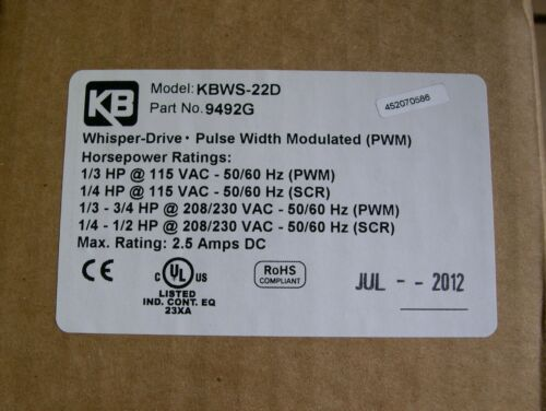 KBWS-22D NEW BUT OLD KB ELECTRONICS WHISPER DRIVE 9492 PWM DC DRIVE