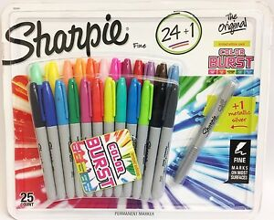 Sharpie Fine Point 25 Permanent Markers 24 Assorted 1 Silver Metallic  71641089839