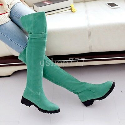 Fashion Womens Elegant Buckle Faux Suede Low Pumps Heels Shoes Over Knee Boots