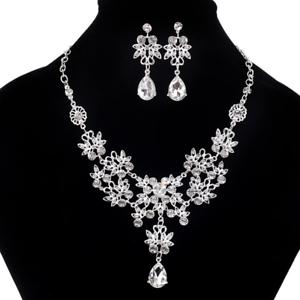 Women-Fashion-Necklace-Jewelry-Crystal-Flower-Choker-Chunky-Bib-Statement-Chain