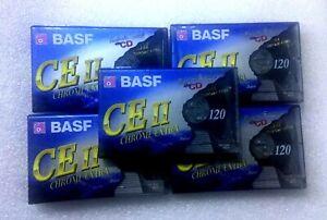 Lot-5-Cassettes-BASF-CE-II-120-Chrome-Extra-Neuves-NEW-SEALED