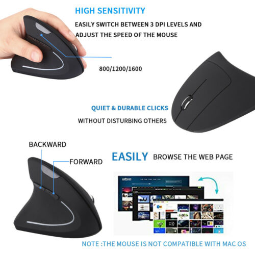 Ergonomic Vertical 2.4G Wireless Left Hand Optical 6D 1600DPI Gaming Mouse