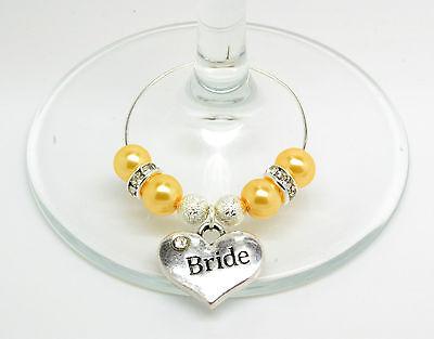 Gold Pearl Personalizzato Matrimonio Famiglia Tavolo Festa Bicchiere Di Vino Charms-