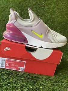 GIRLS: Nike Air Max 270 Extreme, Photon Dust/Lemon Venom - Size 3Y CI1107-003