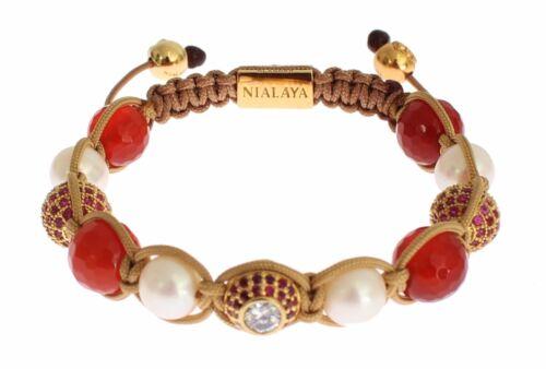 M Nouveau $330 NIALAYA Authentique Bracelet Femmes CZ Carnéol pearl Argent 925 S