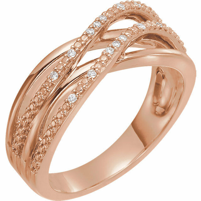 Diamond Criss-Cross Ring In 14K pink gold