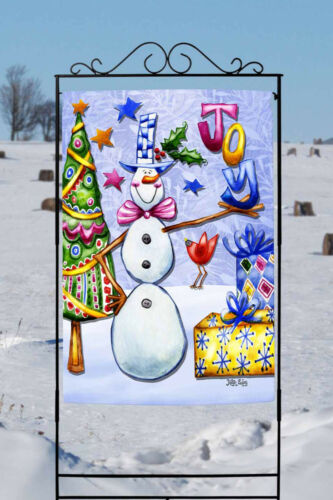 Toland Joyous Snowman 28 X 40 Colorful Winter Joy Christmas Tree House Flag Yard Garden Outdoor Living Garden Décor